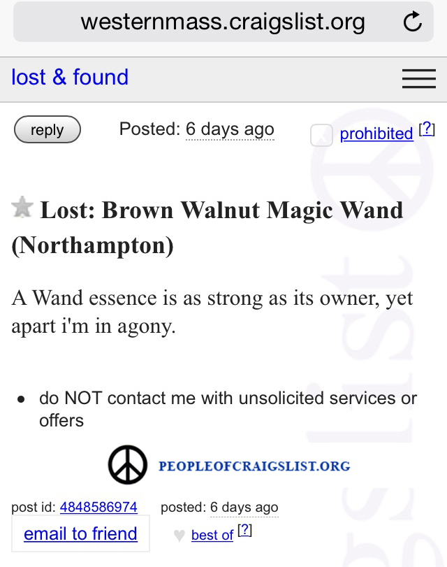 Craigslist Lost Wand