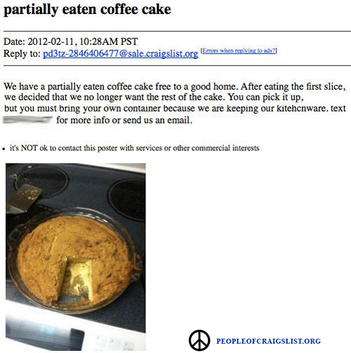partially eaten coffee cake on craigslist