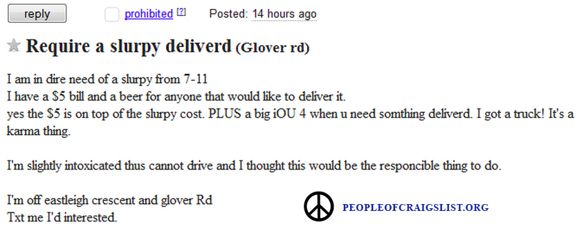 Craigslist Requires a Slurpee Delivery