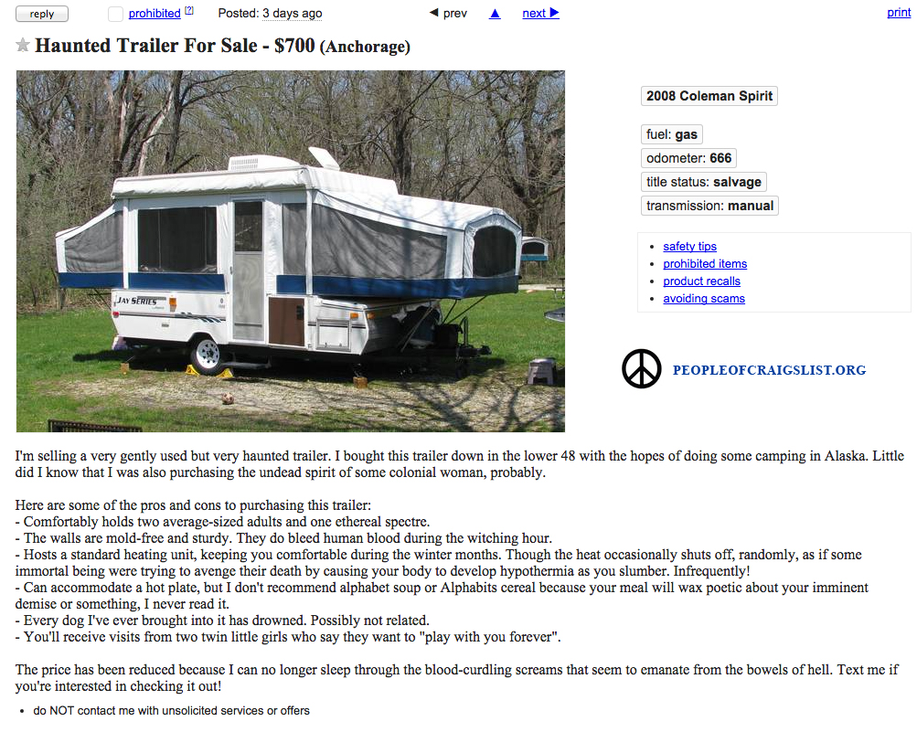Craigslist Haunted Trailer