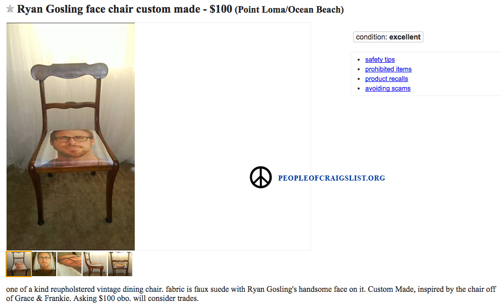 Ryan Gosling face chair