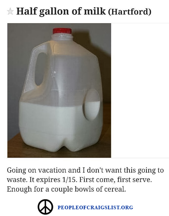 Half gallon of milk on craigslist