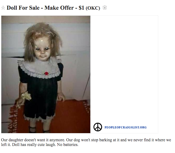 craigslist creepy haunted doll