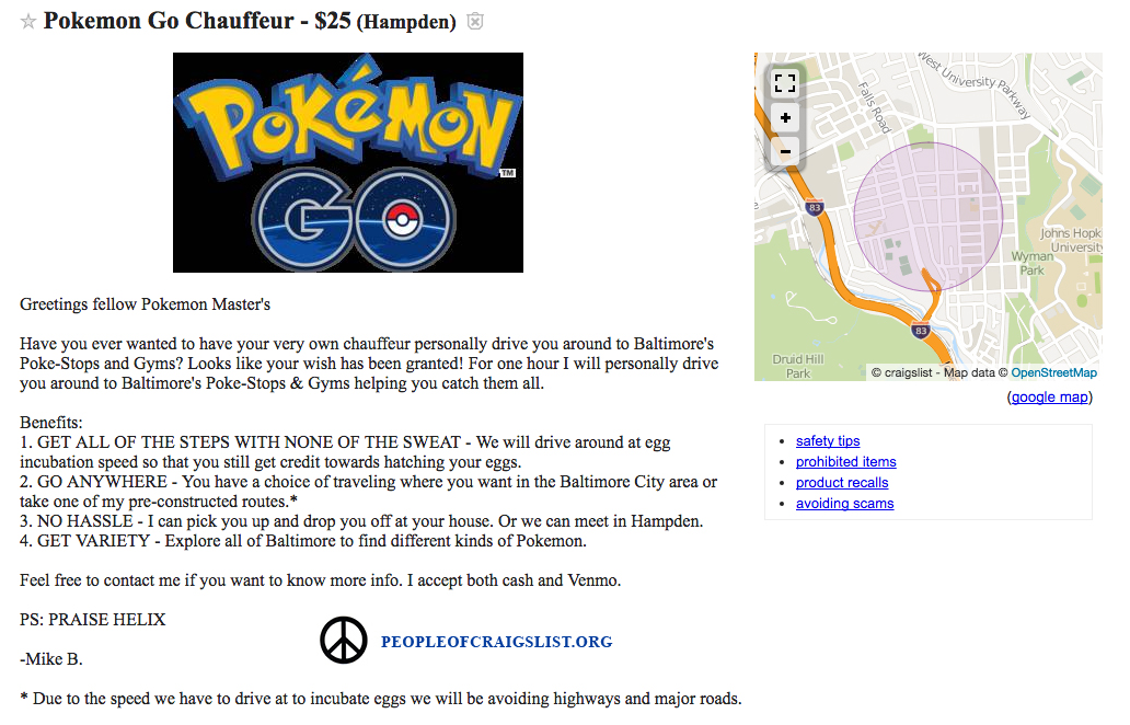 Craigslist Pokemon go transport