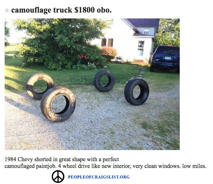 camouflage truck on craigslist