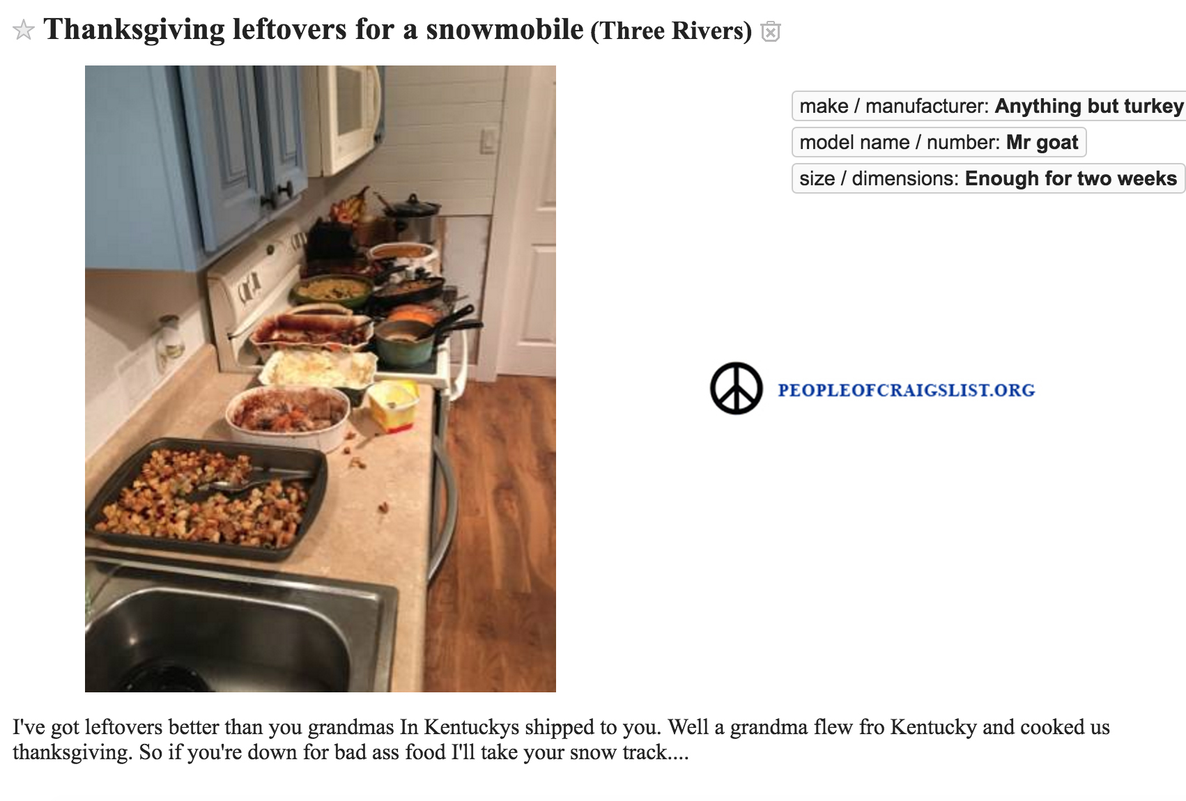 craigslist thanksgiving leftovers