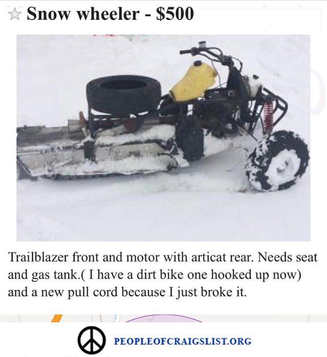 craigslist snow wheeler snow mobile