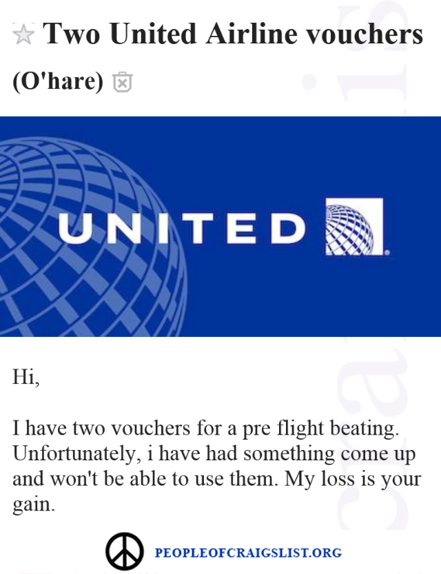 Unitied airlines craigslist