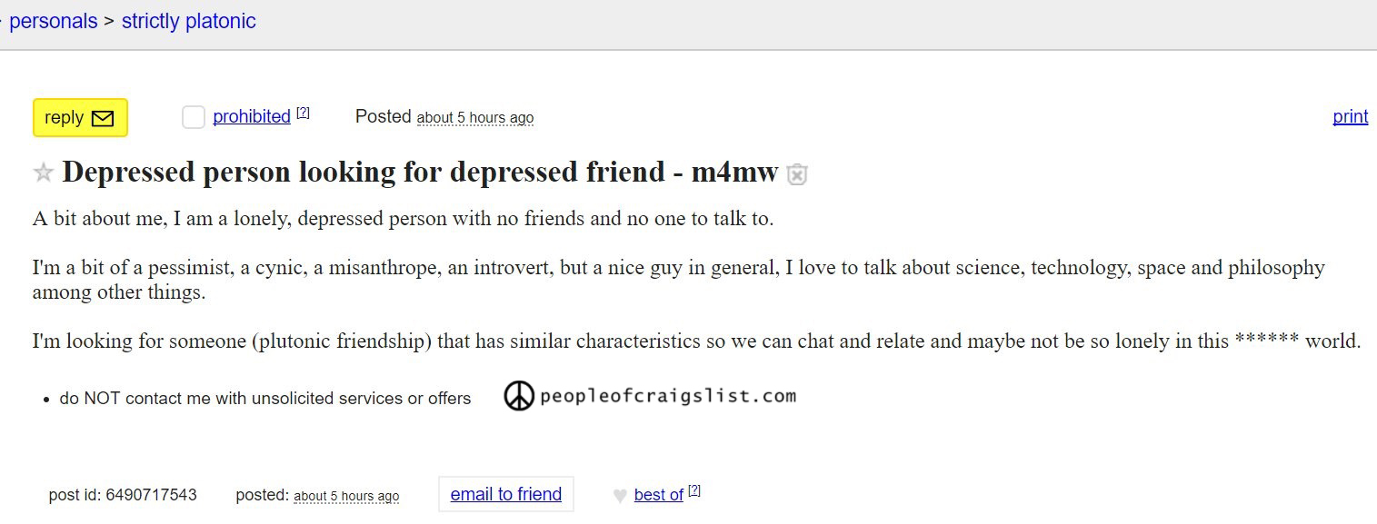 Depressed craigslist personals
