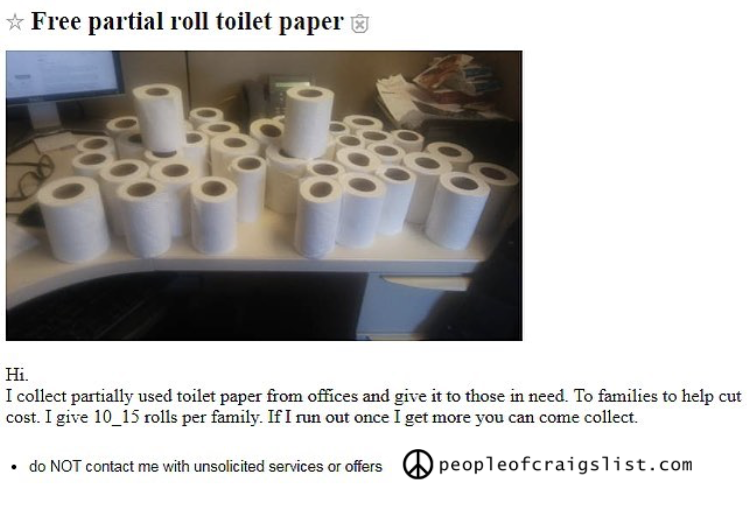 free partial roll toilet paper