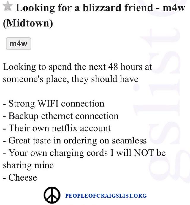 Craigslist Blizzard