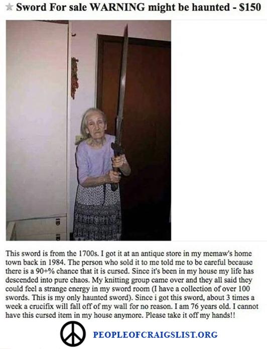 Craigslist Grandma with Sword