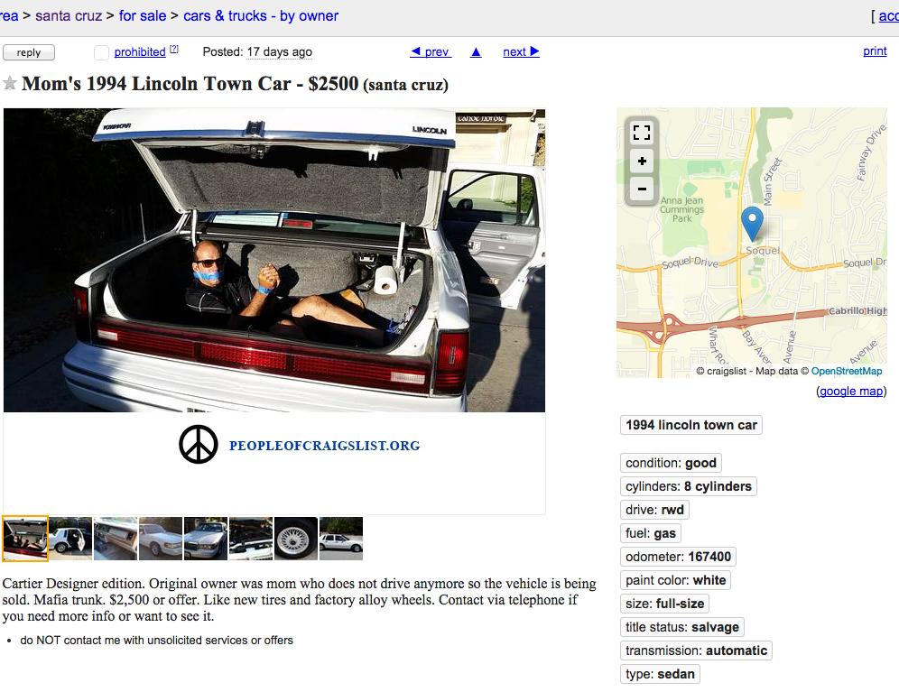 Craigslist guy in trunk