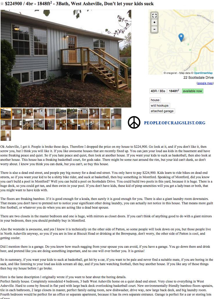 Funny Craigslist real estate ad