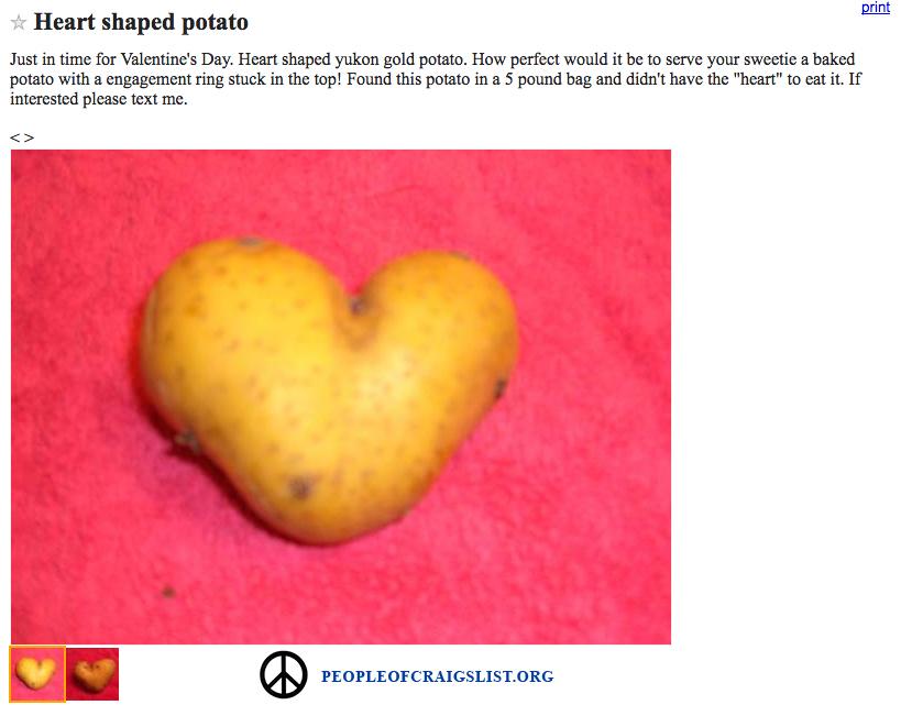 craigslist heart shaped potato