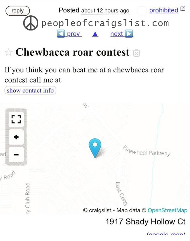 Craigslsit chewbacca roar contest