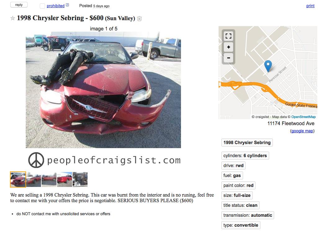 craigslist Chrysler Sebring Convertible