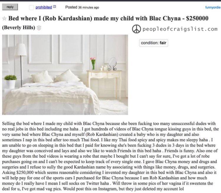 Rob Kardashian and Blac Chyna on craigslist